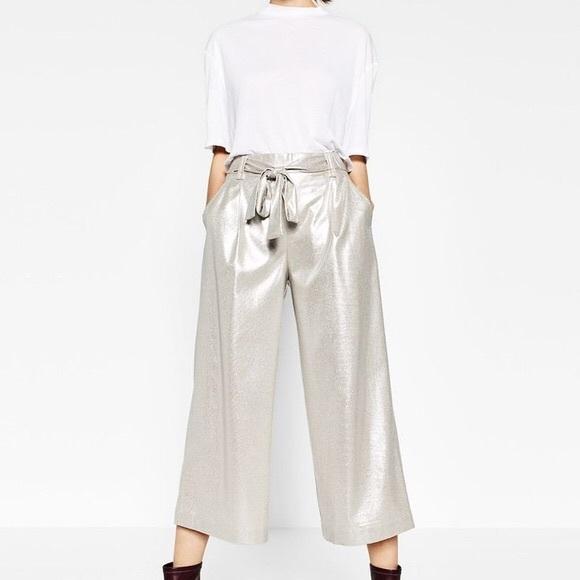 28505c0b Zara Pants | Nwot Silver Metallic Culottes Cropped | Poshmark